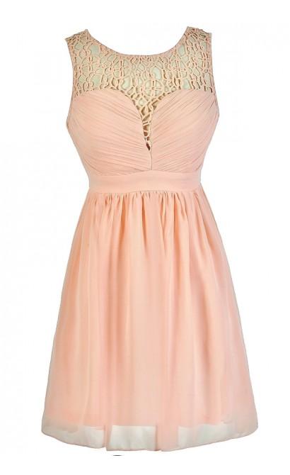 Cute Pink Dress, Pink Party Dress, Pink A-Line Dress, Pink Crochet Neckline Dress, Pink Summer Dress, Cute Summer Dress