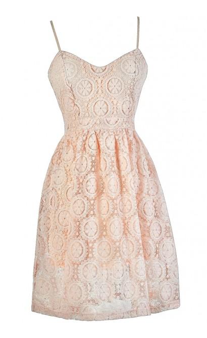 Pink Lace Dress, Pale Pink Lace Dress, Pink Lace A-Line Dress, Pink Lace Party Dress, Pink Lace Summer Dress, Pale Pink Lace Dress