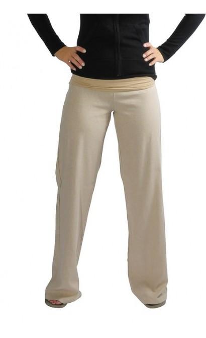 Foldover Linen Pant in Beige