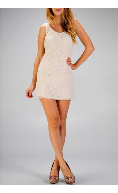 Beige Romantic Lace Semi-Sheer Dress