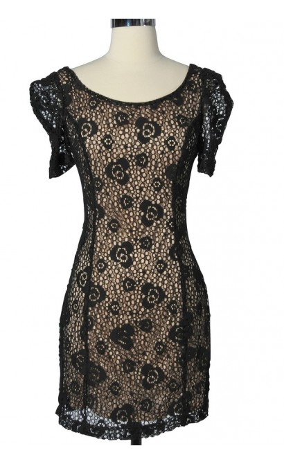 Mysterious Miss Black Lace Overlay Dress