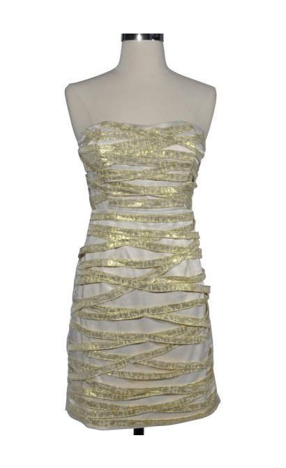 Celestial Sparkle Ribbon Wrapped Designer Dress by Minuet
