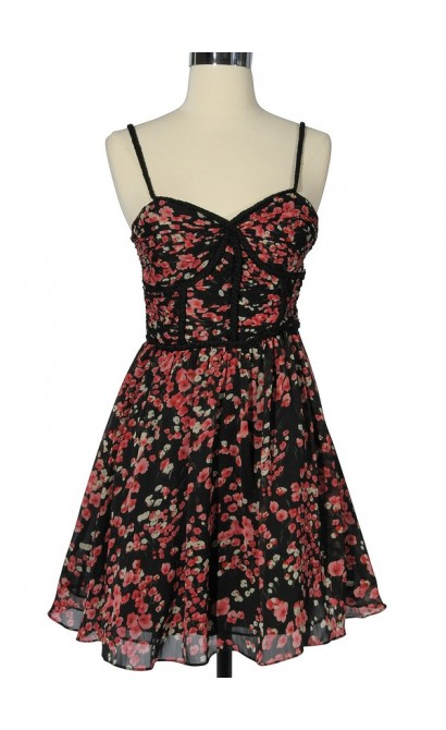Field of Flowers Printed Dress with Braided Strap by Minuet in Black/Red