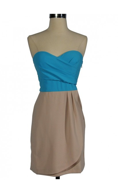 Sand and Sea Two Tone Strapless Designer Dress by Minuet