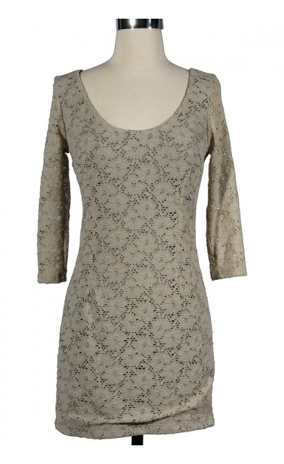 Beige All Over Floral Lace Dress