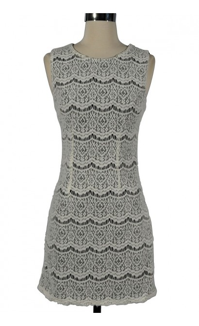 Black and White Textured Crochet Lace Dress