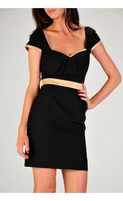 Black Gold Capsleeve Designer Pencil Dress by Minuet