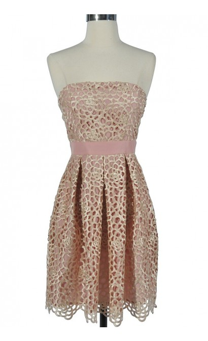 Sweet Honeycomb Lace Overlay Strapless Designer Dress by Minuet in Pink