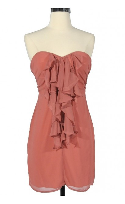 Dusty Peach Ruffle Front Strapless Dress