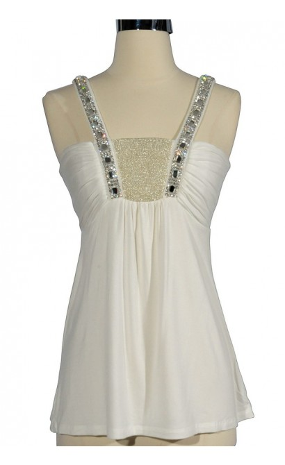 Bold Jewel Beaded and Embellished Top in White