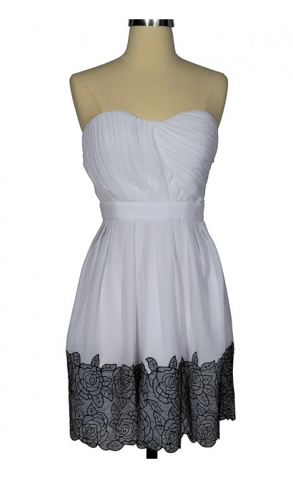 Coming Up Roses White and Black Chiffon Designer Dress by Minuet