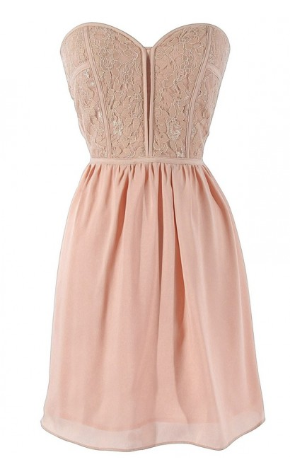 Sweetheart Strapless Dress in Blush