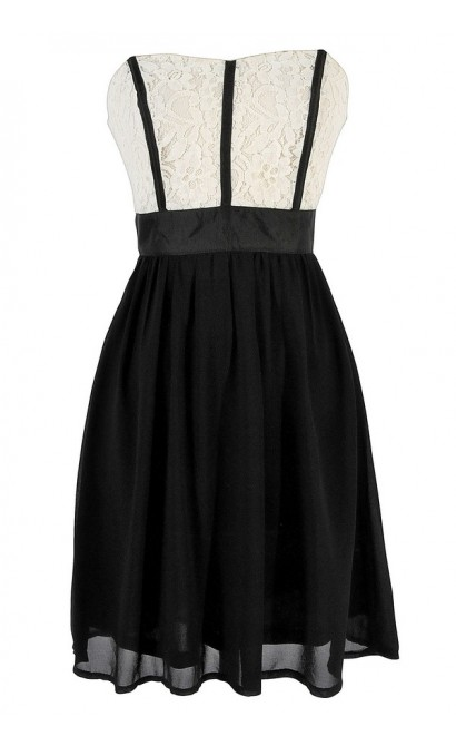 Fabric Piping Lace and Chiffon Strapless Dress in Black
