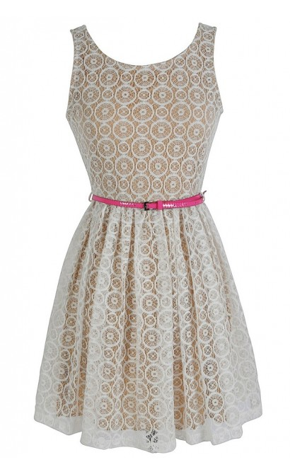 Circles In The Sand Pink and Ivory Belted Dress