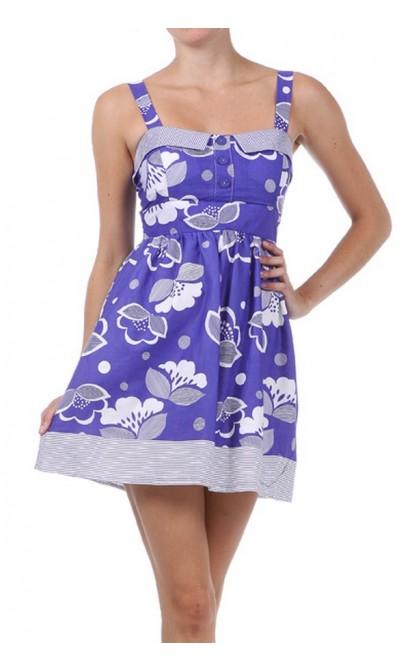 Playful Purple and White Flower Print Dress