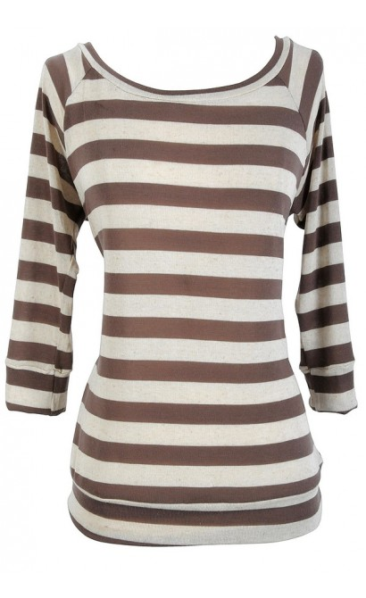 Striped Round Neck Sweater in Mocha