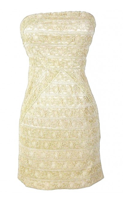 Gilded Gold Metallic Lace Strapless Designer Dress by Minuet
