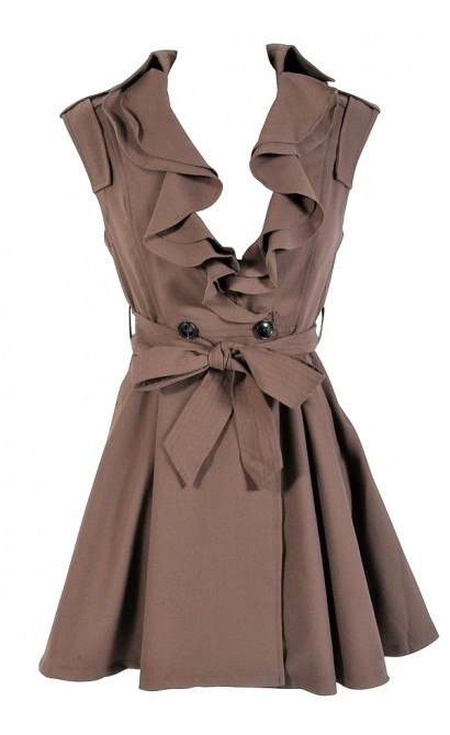 Ruffle Collar Belted Waist Dress in Coffee