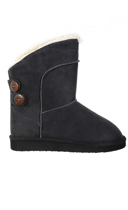Charcoal Grey Shearling Button Boot