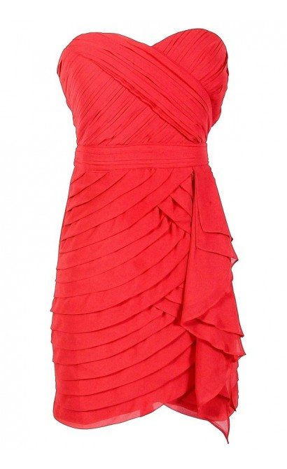 Tiered Strapless Chiffon Designer Dress by Minuet in Festive Red