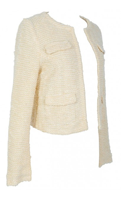 Cream and Gold Sparkle Boucle Jacket