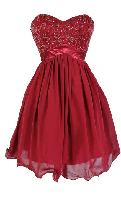 Burgundy Wine Sparkle Embellished Designer Dress