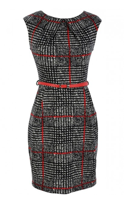 Belted Black and Ivory Pattern Sheath Dress in Red