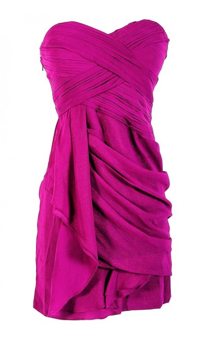 Dreaming of You Chiffon Drape Party Dress in Purple Sparkle by Minuet