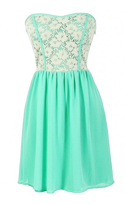 Beige Lace Strapless Dress With Fabric Piping in Mint