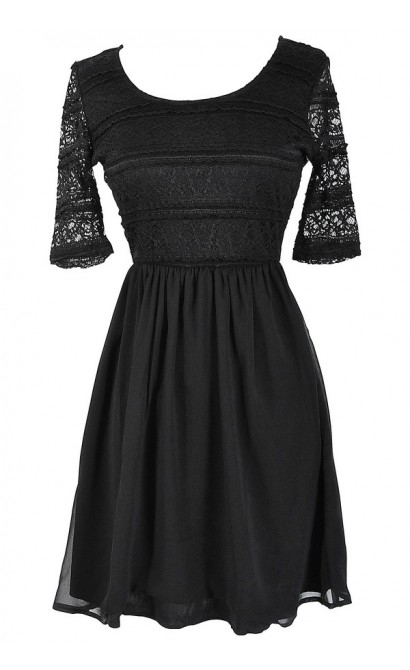 Chrissy Lace and Chiffon Dress in Black