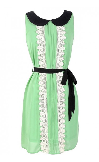 Emma Peter Pan Collar Chiffon and Crochet Trim Dress in Sage