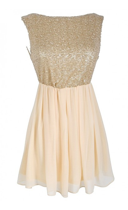 Sequin and Chiffon Babydoll Top in Ivory