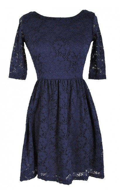 Navy Three Quarter Sleeve Lace Dress