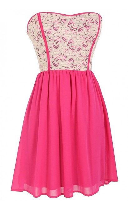 Beige Lace Strapless Dress With Fabric Piping in Bright Pink