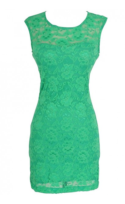 Bold Floral Lace Dress in Emerald Green