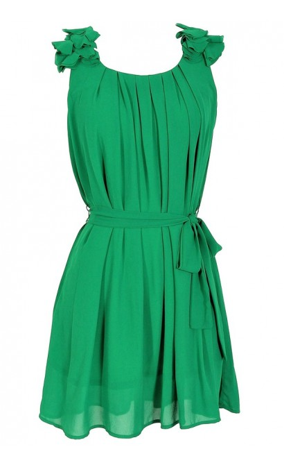 Chiffon Shoulder Petal Dress in Green
