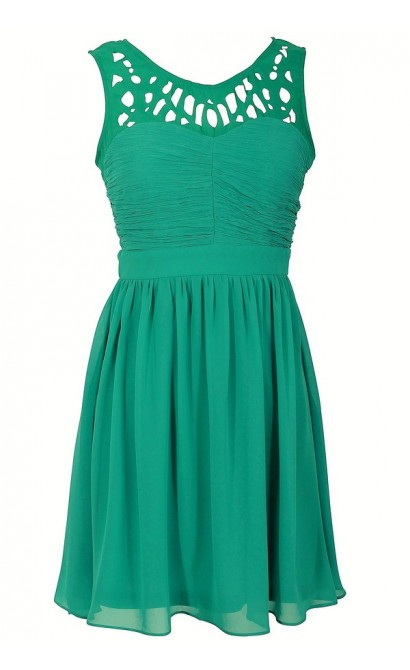 Laser Cut Chiffon Dress in Jade