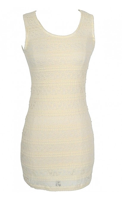 Basic Beauty Fitted Lace Dress in Cream