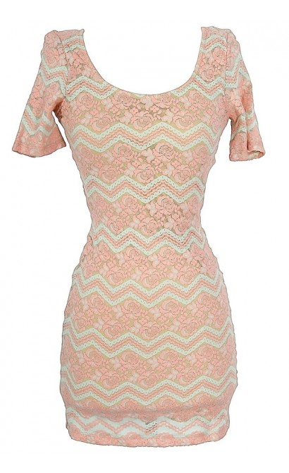 Summer Nights Floral and Chevron Bodycon Dress in Pink