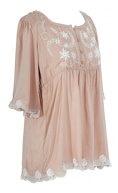 Embroidered Button Front Blouse in Dusty Rose