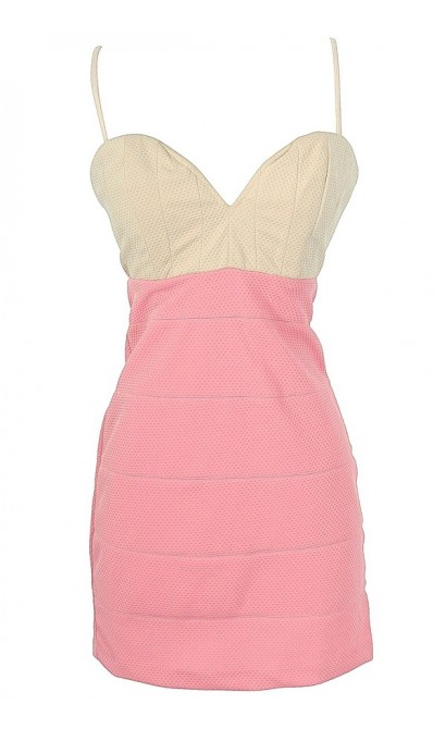 Pink and Beige Textured Colorblock Dress by Ark and Co