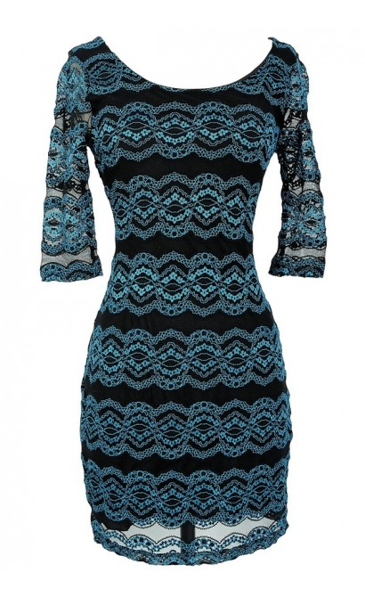 Diana Teal and Black Lace Bodycon Dress