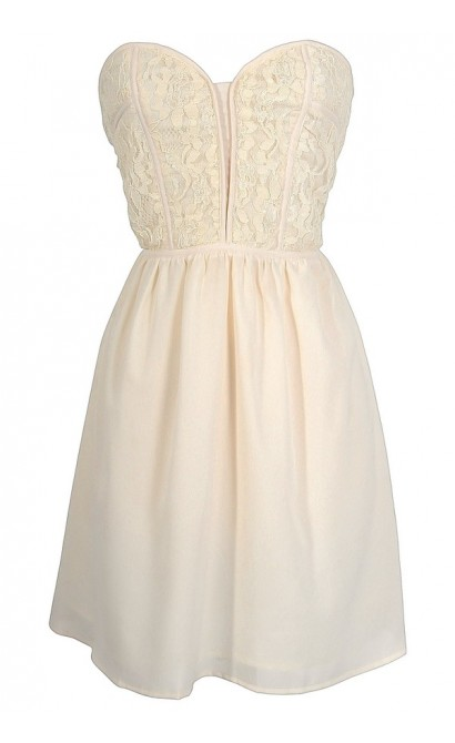 Alicia Lace Sweetheart Dress in Ivory