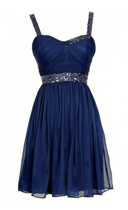 Sparkle and Shine Chiffon Designer Dress by Minuet in Royal Blue