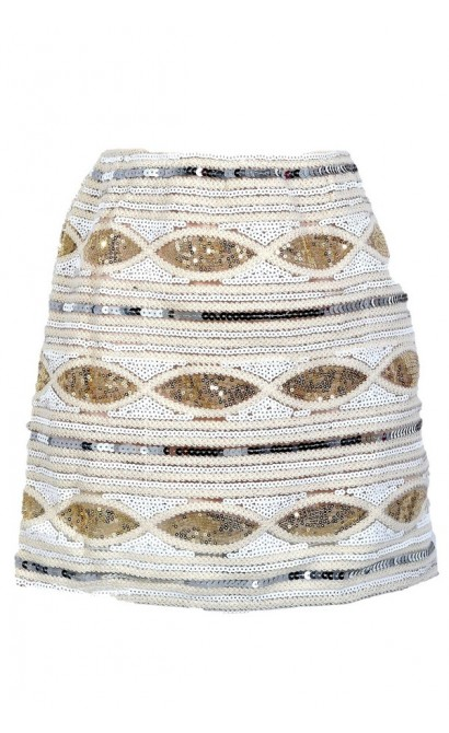 Glitz and Glamour Sequin Embellished Mini Skirt in Ivory