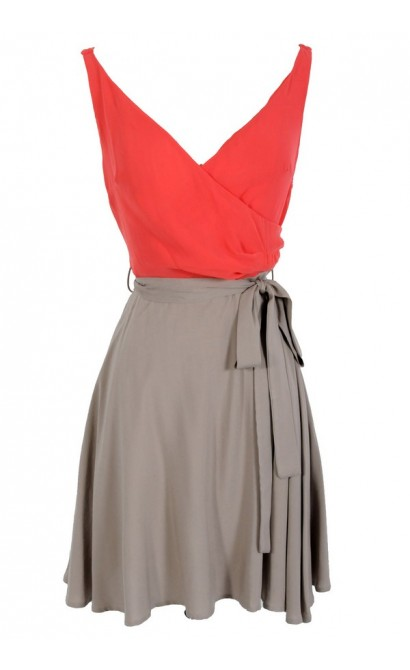 Coral and Taupe Colorblock Chiffon Crossover Belted Dress