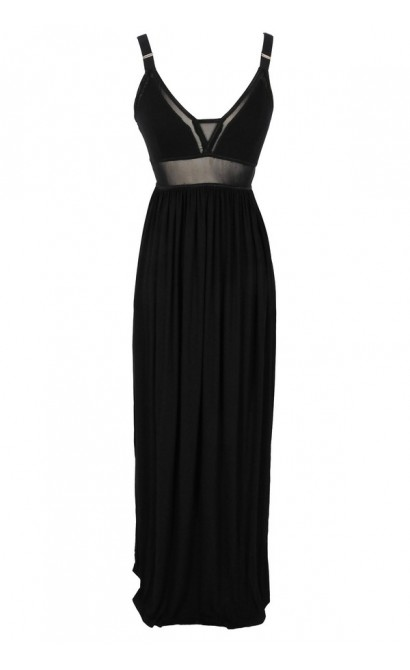 Black Maxi Dress With Mesh Waistband and Elastic Straps