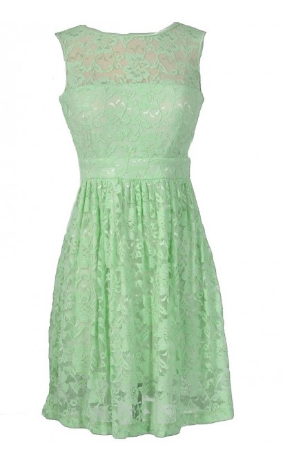 Sleeveless A-Line Lace Overlay Dress in Pale Green