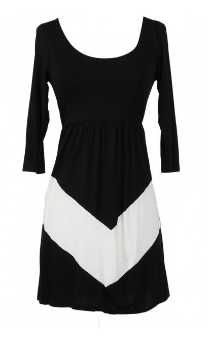 Opposites Attract Black and White Jersey Dress