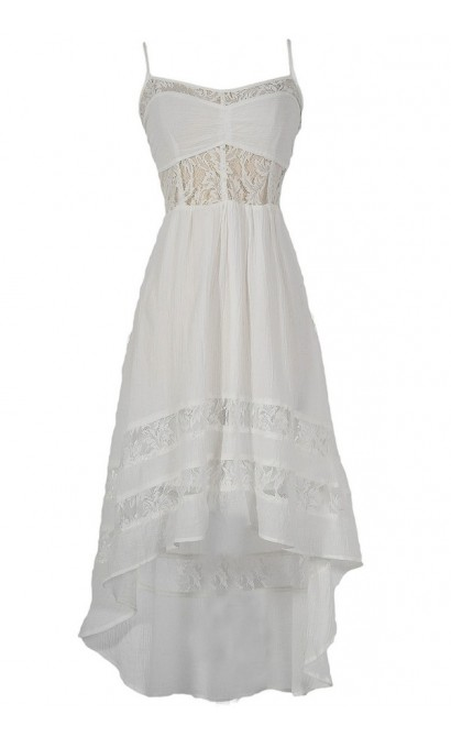 Monica Lace Inset High Low Designer Dress in White
